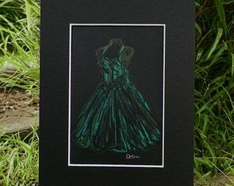 Pastel Illustration Dress Sketch Fashion Drawing Art Original Painting by Artist Debra Alouise