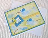 Welcome baby card handmade whale rainbow sunshine clouds stamped yellow blue embellished ribbon pearls stationery greeting home living