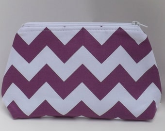 Cosmetic Pouch, Make Up Bag, Zippered, Carry All  - Purple and White Chevron
