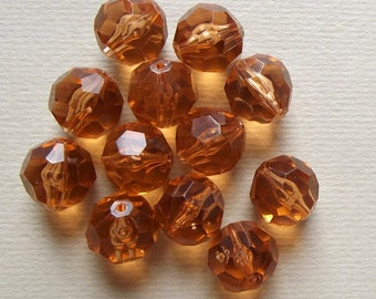 Vintage faceted pale peach beads