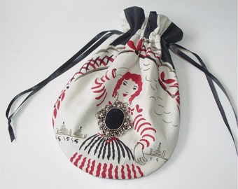 Handbag purse drawstring bag reticule red and black