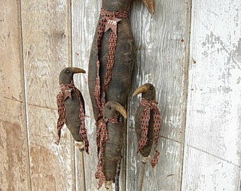 Americana Primitive Crow Dolls on Stick PATTERN-Fall Garden Decor