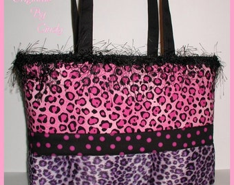 Purple Leopard Purse Tote Bag Hot Raspberry Pink Polka Dot Dots Black Eyelash Trim Extra Large