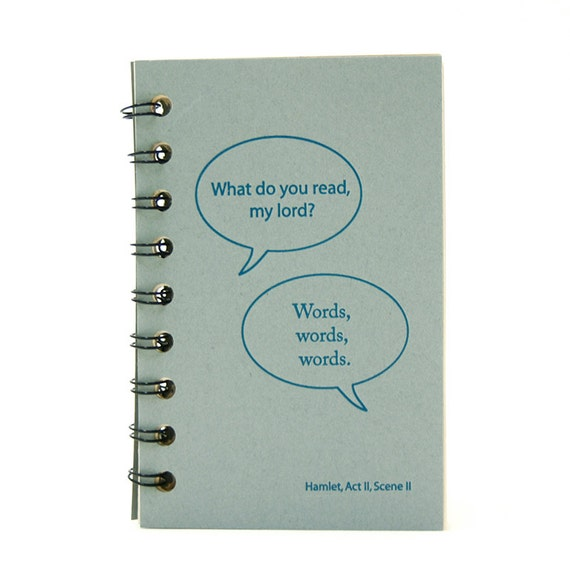Reading Diary, Journal or Organizer  with Shakespeare Quote, keep track of what you read. For book lovers. Ready to Ship