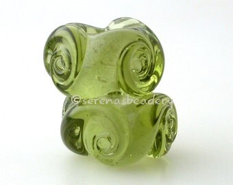 European Charm TWISTED OLIVE GREEN Handmade Lampwork Glass Bead Pair taneres