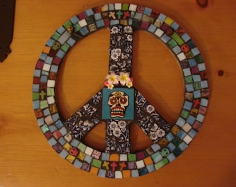 Mosaic Tile  Art Colorful Wall Plaque Peace Sign Day of the Dead Skull Orange Stained Glass
