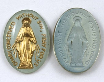 25mm Blue Mother Mary Oval #624