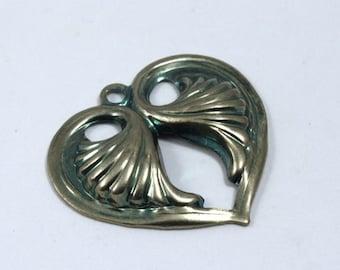 20mm Antique Silver Lotus Heart Charm (2 Pcs) #1316