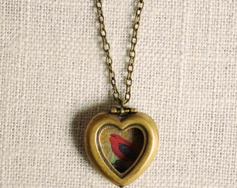 IMPERFECT . through my window . scarlet tanager // bird locket . heart locket necklace . antiqued heart charm . woodland jewelry