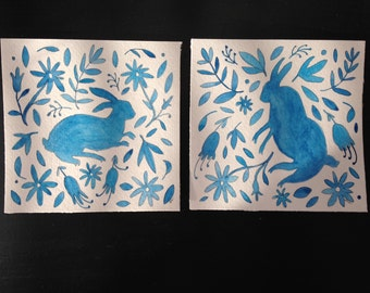 Rabbit Diptych - Otomi print inspired blue watercolors