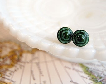 forest green vintage glass post earrings- gold plate- abstract
