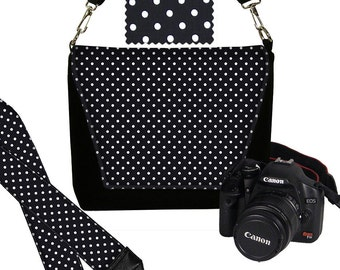 SET  Polka Dot Camera Bag and Dslr Camera Strap, Camera Bag Slr and Camera Neck Strap, black white MTO