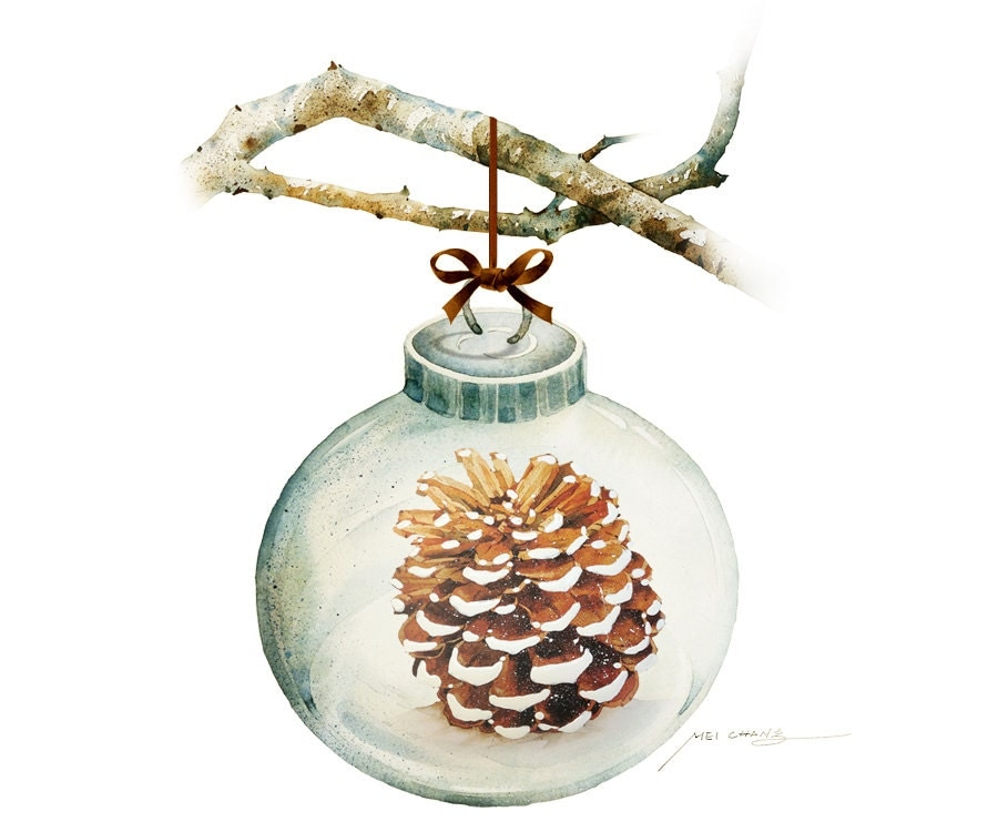 Watercolor painting christmas ornament with pine cone for Pine cone christmas tree ornaments