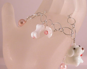 White dog pink glass sterling silver charm bracelet - dog lover white lampwork bone pink glass pearls white flower