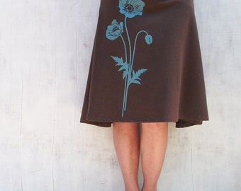 Organic Jersey Knit Skirt- Knee Length Skirt for Women - Stretchy Brown Skirt- A Line Floral Skirt- Comfy Spandex Skirt - Graphic Skirt
