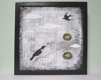 Acrylic Mixed Media Bird Painting , Let It Go , Ready to Hang and One of a Kind. Free Domestic Shipping
