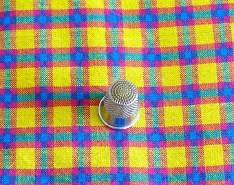 Vintage Plaid Fabric Woven Cotton Yellow Blue Green Fuschia 4 Plus Yards
