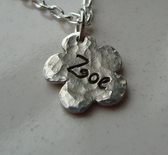 Personalized Hand Engraved Fine Silver Flower Charm/Tag and Sterling Silver Necklace