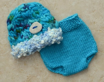 RTS Newborn Baby Outfit Knit BaBY PHoTO PRoPs Turquoise Hat Diaper Cover SET Boy Girl Soaker CHuNKY Brim BuTToN Beanie CoMiNG HoME Unisex