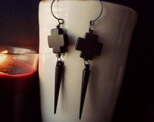 sale - priest - black cross and spike earrings - edgy handmade jewelry - goth fashion