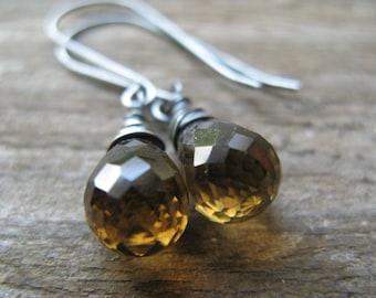 whiskey quartz drops - earrings - oxidized silver