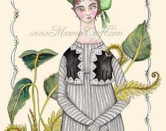 "Regency garden art print, ""Greenhouse"""