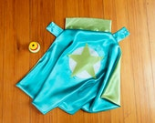 Super Hero Cape for Kids by Little Hero Capes - Teal and Lime - Superhero Star Design FLASH SALE