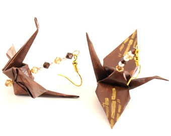 Bamboo on Chocolate Brown Origami Crane Earrings with Gold Plated Hooks Jewelry