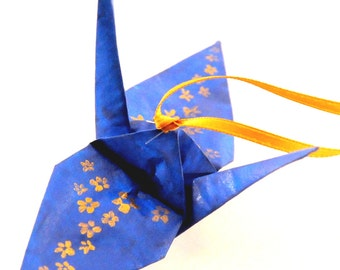 Gold Cherry Blossoms on Blue Handpainted Origami Crane Ornament Home Decor