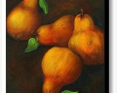 ON SALE Still Life Honey Pears Painting - Limited Edition Hand Embellished Canvas Print - EnzieShahmiriDesigns