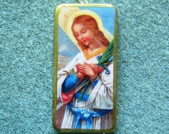 St. Susanna of Rome Catholic Recycled Domino Pendant Necklace Loss of Parents S1