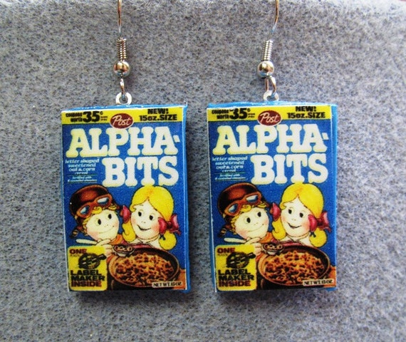 CLOSEOUT Alpha Bits Cereal Retro Kitsch Dangle Polymer Clay