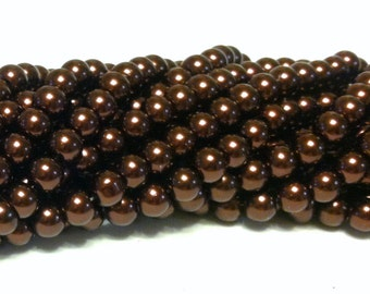 Glass Pearl Beads - 42 pc - Chocolate Brown Beads - 8mm - Round - Dyed - Brown Pearl Beads