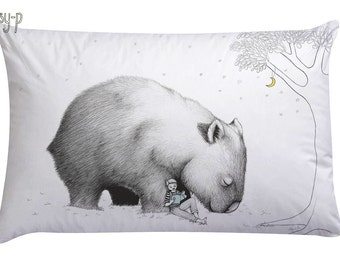 Wombat pillowcase with boy, facing right. Illustrated pillowslip. Australian Gift with original art by flossy-p.