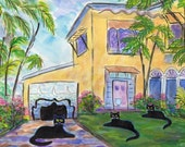 ORIGINAL PAINTING, 3 Black Cats on Vacation in South Florida, Key West, by D M Laughlin
