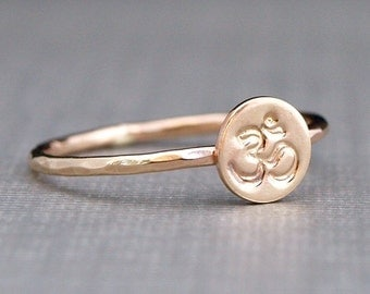 Gold Ring , Om Ring , Hammered Gold Ohm Ring