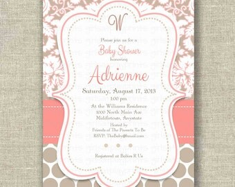 Baby Shower Girl Boy Invitation Invite Cocoa Coral Damask Dots - Printable DIGITAL - by girls at play girlsatplay