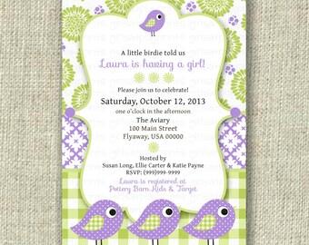 Baby Girl Shower Invitation Invite Bird Lime Green Purple Lilac Gingham Check - Printable DIGITAL - by girls at play girlsatplay