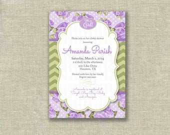 Baby Shower Girl Invitation Invite Lavender Lilac Roses Chevron- Printable DIGITAL - by girls at play girlsatplay