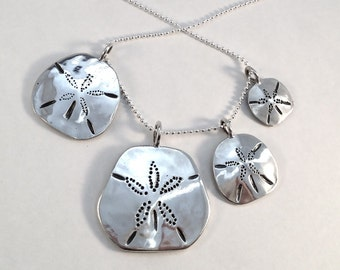 Sand Dollar Pendant or Earrings Made from Silver Vintage American Coin Dime Quarter Half Dollar