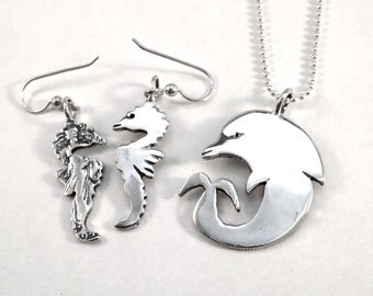 Dolphin Pendant or Seahorse Earrings Made from Silver Vintage American Half Dollar Coins