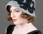 Cloche Hat Wool - Octopus Grey Cloche Steampunk Hat
