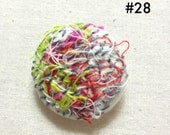 Fiber art handmade embroidery pin / brooch / button number 28 gray, green, pink, red