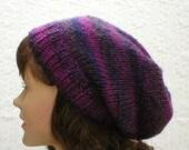 Slouchy hat, purple, navy blue, tweed striped hat, women's hat, men's hat, toque, winter hat, ski snowboard hat, skateboard hat, chemo cap