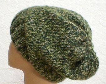 Green tweed slouchy hat, knit hat, winter toque, green hat, slouchy beanie, ski snowboard, hiking, skateboard, chemo cap, mens womens hat