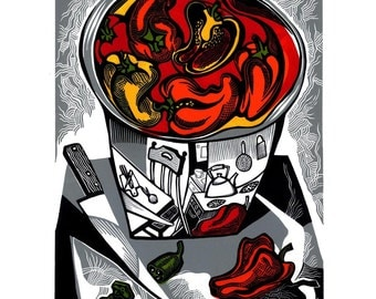 RED PEPPER in a Steel Bowl linocut
