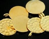 KG-242 thai karen hill tribe handmade silver 2 gold vermeil hammered om sign disc charm 16.0 mm