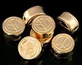 KZ-225 thai karen hill tribe handmade silver 4 rose gold vermeil peace sign cylinder shaped bead