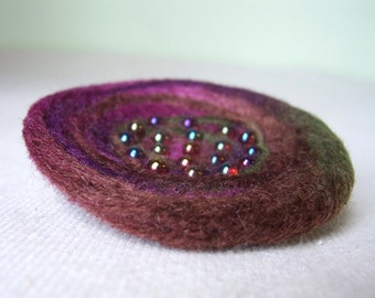 Nest Pin - Felted Wool,  Plum and Leaf