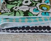 Green floral burp cloth trio